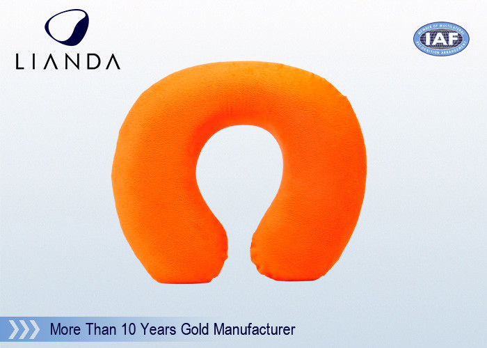 Orange Travel Neck Pillow Embroidery Memory Foam For Car Flight